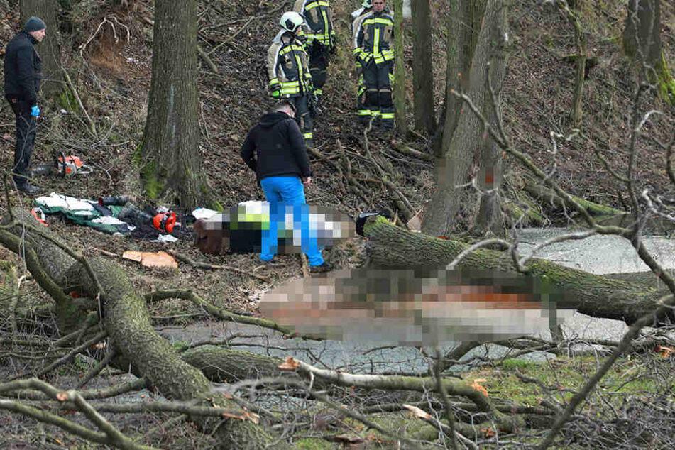 In einem Wald nahe Wilsdruff starb ein 40-Jähriger.