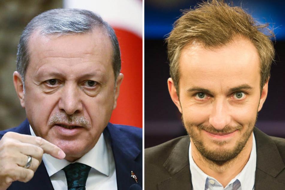 Wegen seines Schmähgedichts gegen Erdogan (links) sollte Böhmermann (rechts) Besuch von den Schlägern der Osmanen bekommen. (Archivbild)