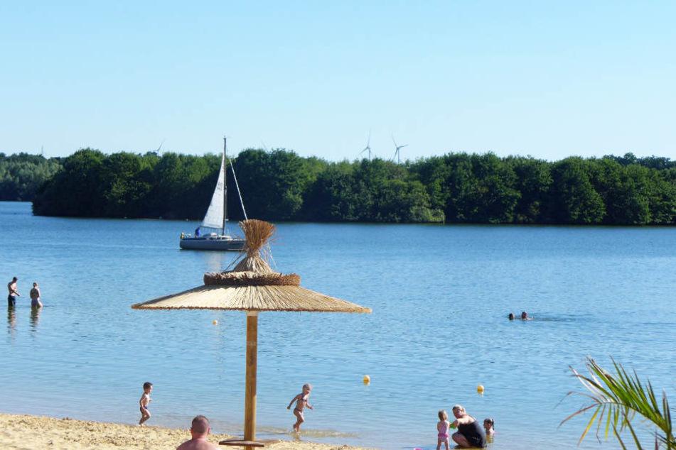 Bei sommerlichen Temperaturen zieht es viele Besucher an den See.