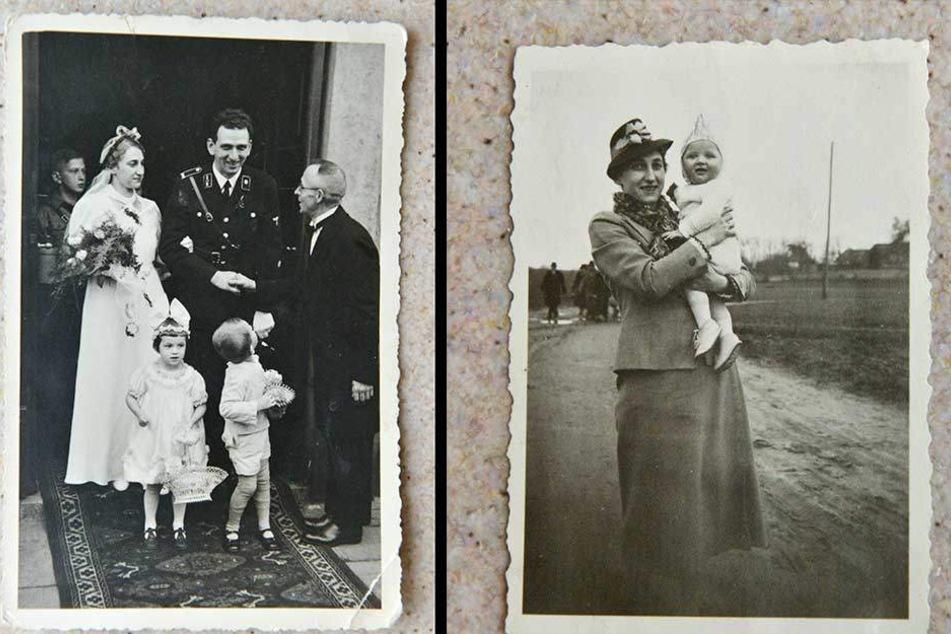 1937 heiratete Lisbeth ihren Fritz in der Dresdner Matthäuskirche (li.). Und rechts Lisbeth mit ihrem Sohn Dietrich.