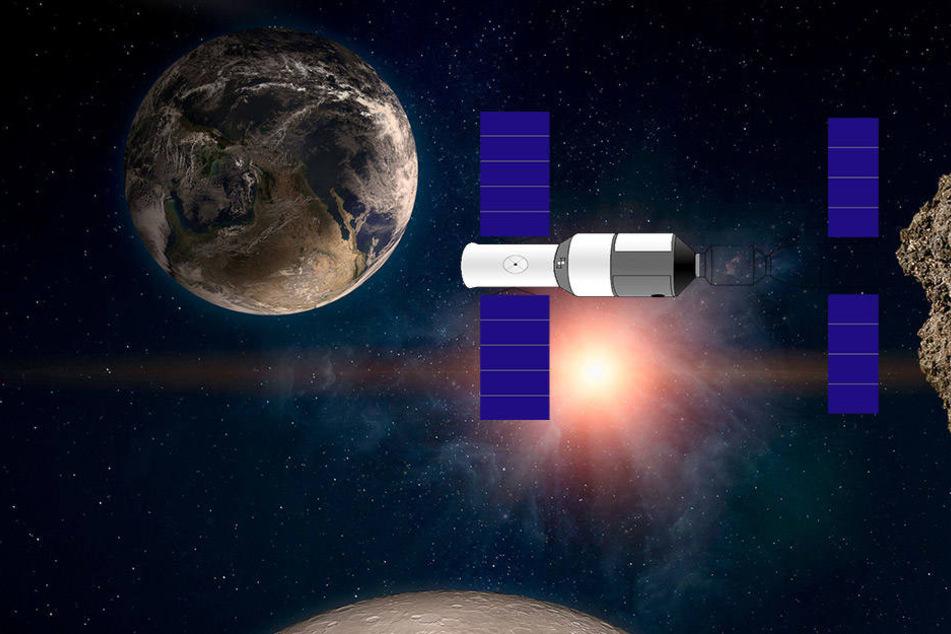 Das Raumlabor Tiangong 1 (Visualisierung) trudelt im Weltall und schlägt bald auf der Erde ein.