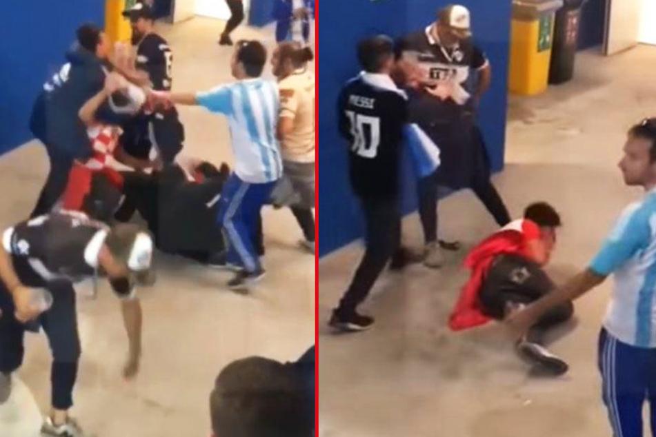 Videoaufnahmen zeigen, wie argentinische Fußballfans auf das Opfer einprügeln.