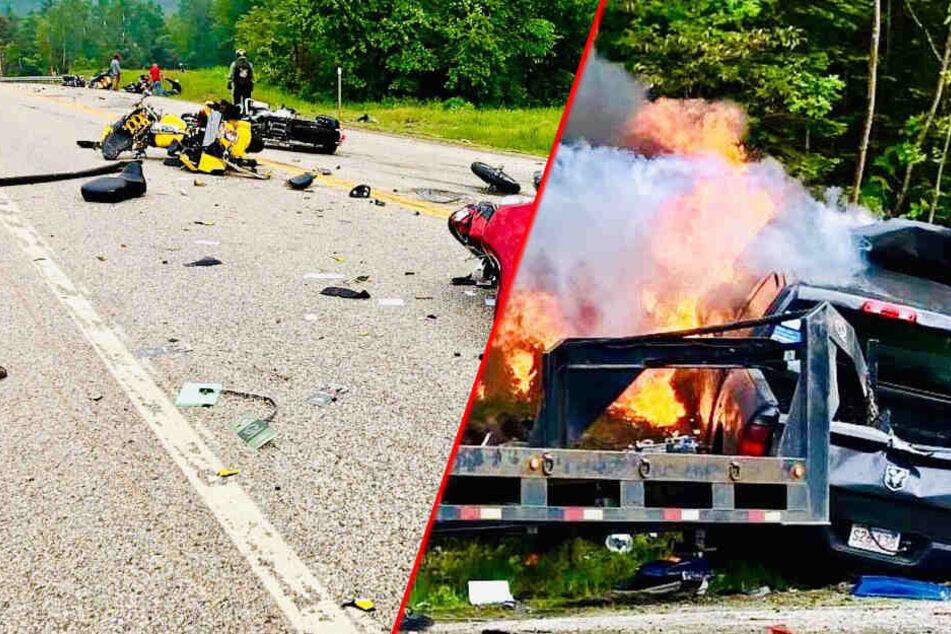 Sieben Tote bei Horror-Crash: Motorräder und Lastwagen krachen frontal zusammen