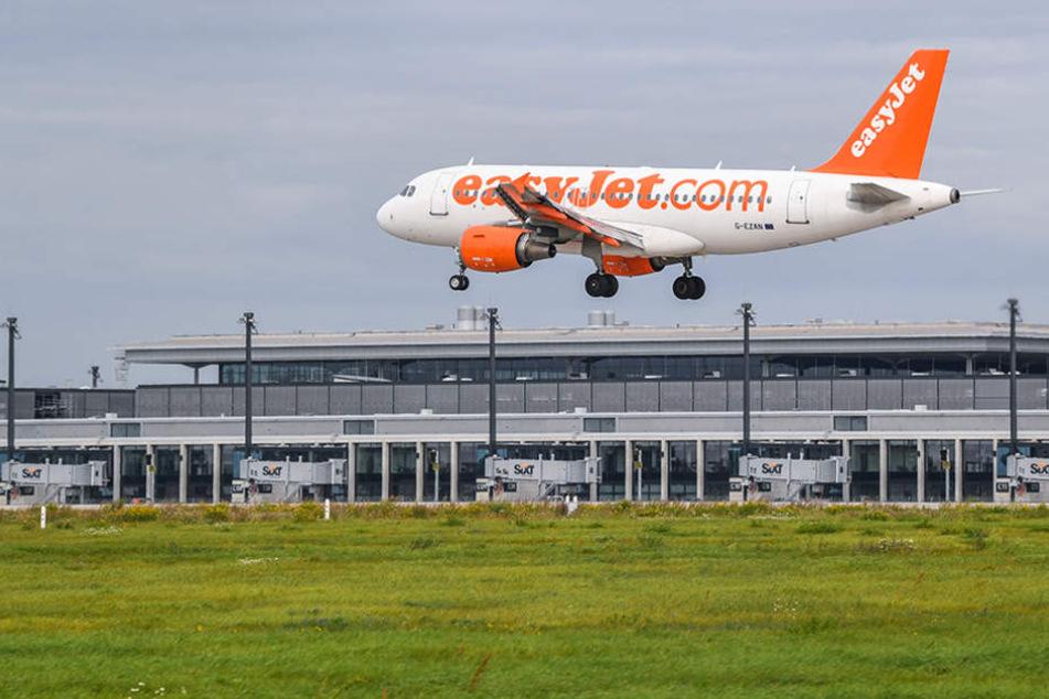 Ein Passagierflugzeug der britischen Billigfluggesellschaft easyJet landet in Berlin.