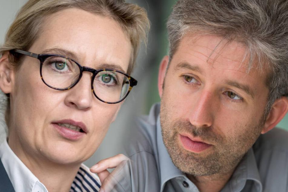 """Von Alice Weidel (links) will Boris Palmer (rechts) eine Stellungnahme zu Antisemitismus und Rassismus, """"der noch nicht zum Terror geworden ist""""."""