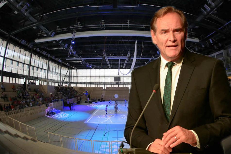 """Der LVZ sagte Oberbürgermeister Burkhard Jung (60): """"Wir träumen in der Tat von einer großen, neuen Ballsporthalle. Das ist kein Hirngespinst."""""""