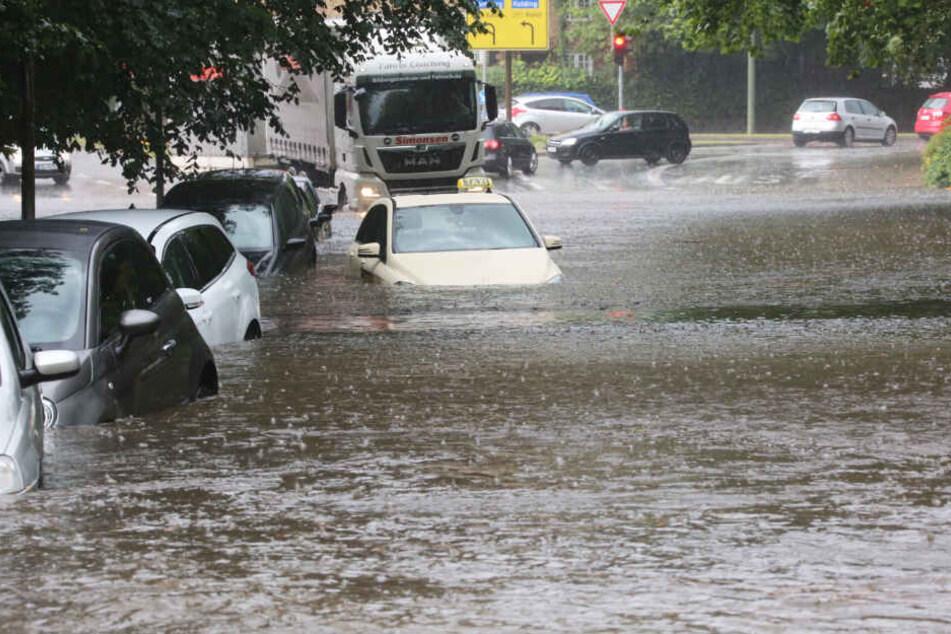 Der Starkregen überschwemmte die Flensburger Innenstadt.