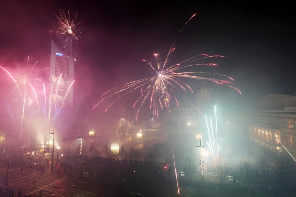 Feuerwerk auf dem Augustusplatz, Silvester 2019.