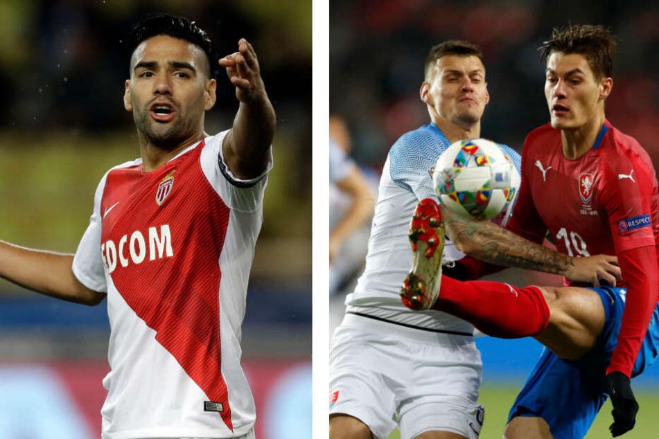 Radamel Falcao (33, l.) wird in Monaco Platz für Augustin machen und zu Galatasaray Istanbul wechseln. Als Ersatz in Leipzig soll Patrik Schick (23, r.) kommen.