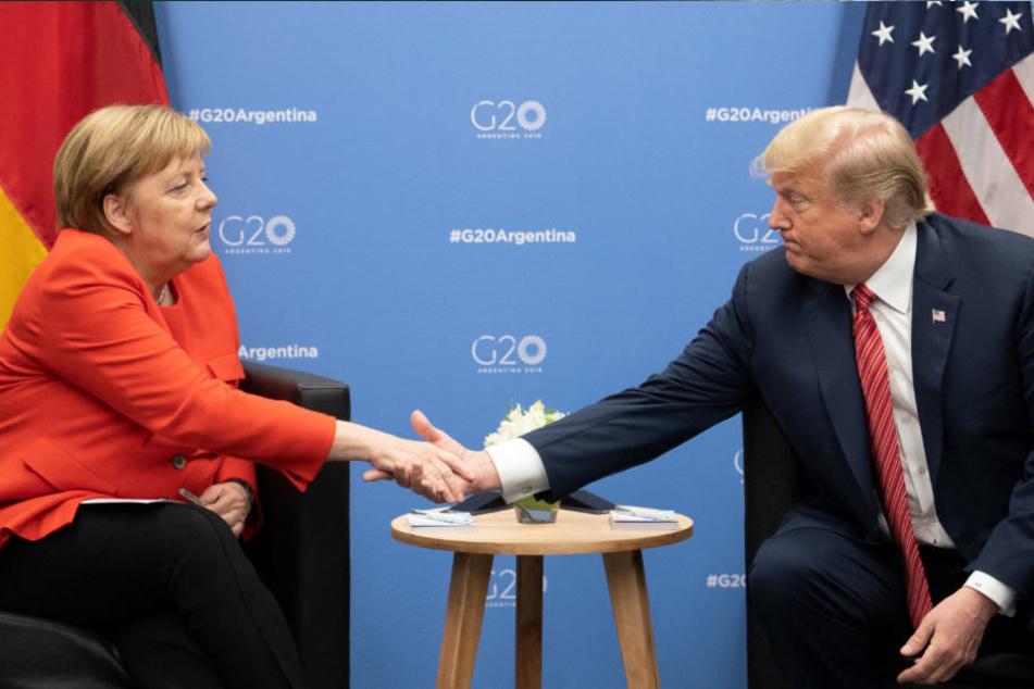 Angela Merkel und Donald Trump begrüßen sich auf dem G20-Gipfel in Buenos Aires.