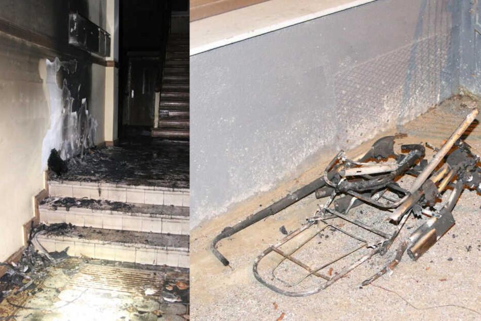 Ein Brand in einem Pankower Hausflur zerstörte einen Kinderwagen. (Bildmontage)