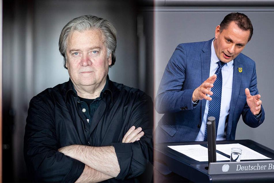 Steve Bannon (65) interessiert sich jetzt auch für Sachsen. Er knüpft europaweit Kontakte zu Rechtspopulisten. Der AfD-Bundestagsabgeordnete Tino Chrupalla (44) traf sich mit dem Trump-Berater.