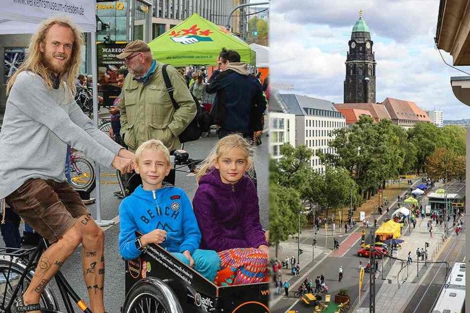 So lief der autofreie Samstag in der Dresdner City