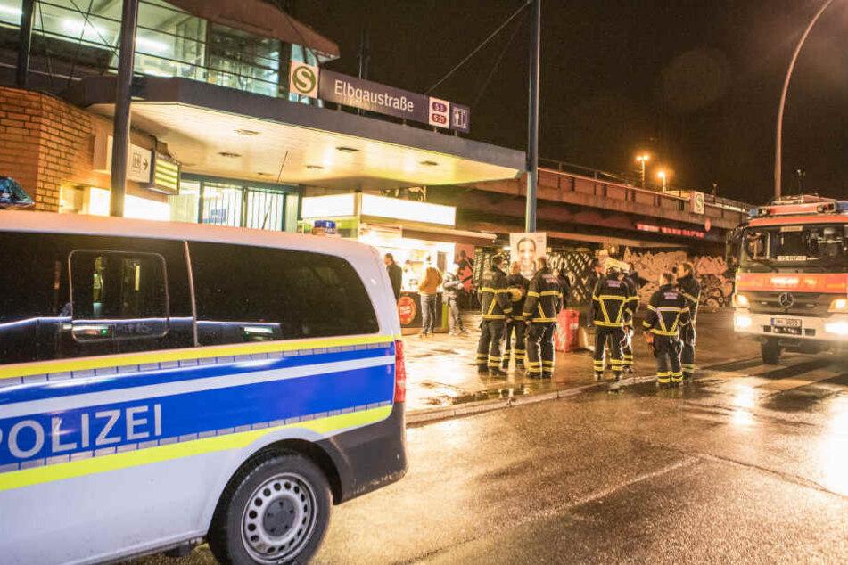 Zahlreiche Einsatzkräfte von Polizei und Feuerwehr waren bei dem Einsatz an der Elbgaustraße vor Ort.