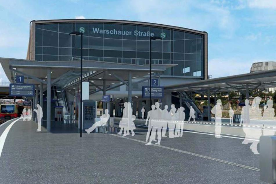 Ende 2018 soll so der fertige S-Bahnhof aussehen. Der erste Bahnsteig ist bereits fertig.