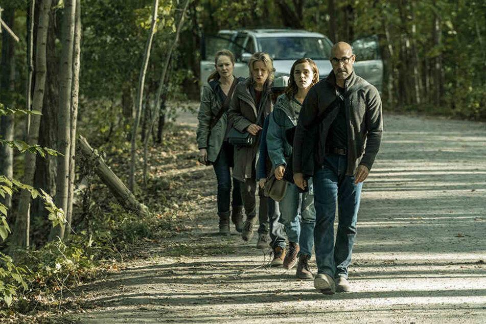Von rechts: Hugh Andrews (Stanley Tucci) Ally (Kiernan Shipka), Jude (Kyle Breitkopf) Lynn (Kate Trotter) und Kelly (Mirando Otto) müssen das Auto stehen lassen und mucksmäuschenstill zu Fuß durch den Wald laufen.