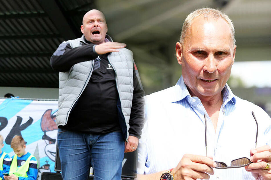Kann schon mal grantig werden, wenn es nicht läuft: Nordhausens Präsident Nico Kleofas (l.). Das Gesicht wollen die Auer um Helge Leonhardt am Samstag sehen. (Bildmontage)
