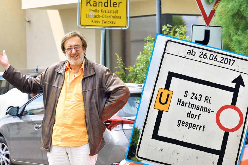 Schilder-Wirrwarr: MOPO-Redakteur Bernd Rippert (57) war ratlos.