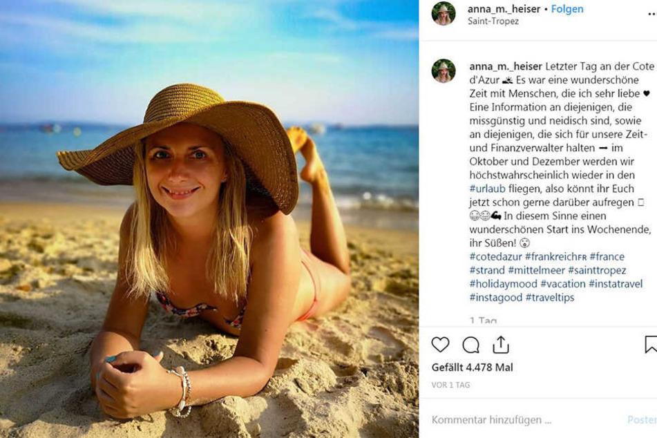 Anna (21) lässt es sich an der Côte d'Azur gut gehen.