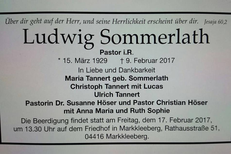 Die Todesanzeige Ludwig Sommerlaths. Er war am 9. Februar in Glauchau verstorben.