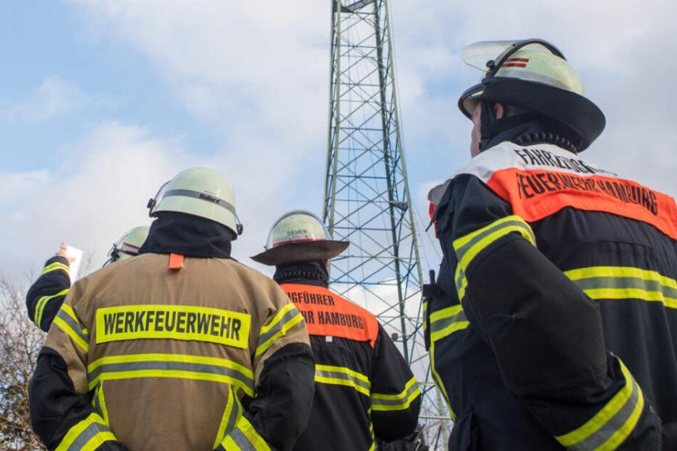 Einsatzkräfte der Feuerwehr stehen vor der defekten Hochspannungsleitung.