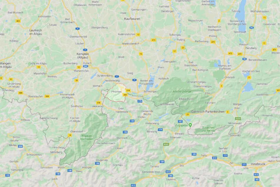 Der Vorfall ereignete sich bei Pfronten im schwäbischen Landkreis Ostallgäu.