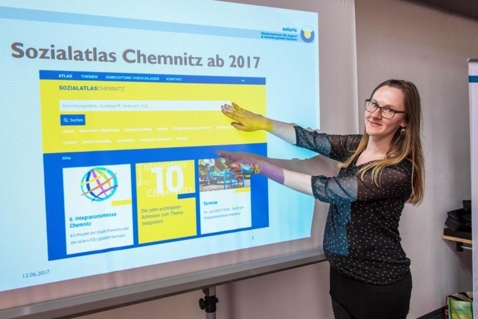 Božena Schiemann (32) vom Förderzentrum Solaris stellt den neuen Chemnitzer Sozialatlas vor.
