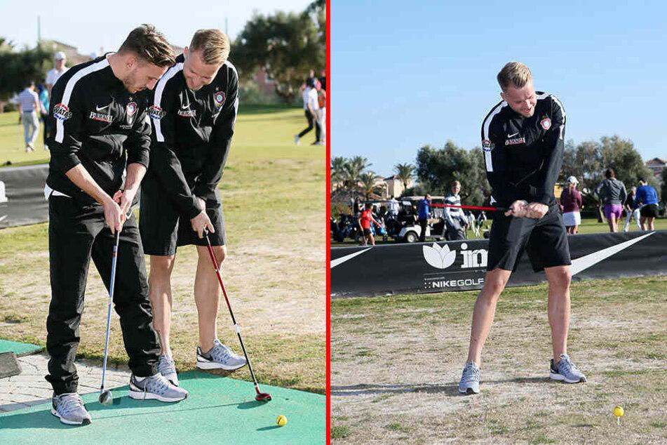 "Simon Skarlatidis (l.) bekam von ""Golf-Profi"" Pascal Köpke (r.) eine kleine Lehrstunde."