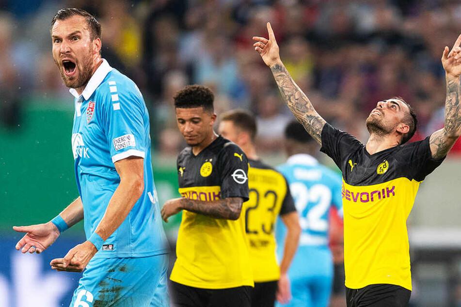 Während KFC-Kicker Kevin Großkreutz (l.) hadert, bejubelt Paco Alcacer (r.) seinen Treffer zum 2:0 für den BVB. (Bildmontage)
