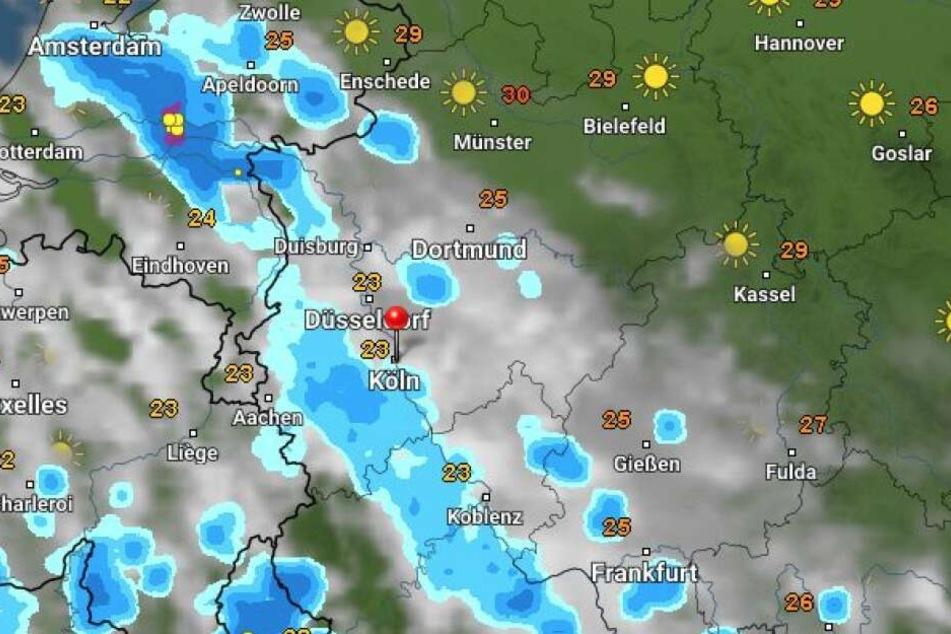 Das Regenradar prognostiziert für Samstag Regen in NRW.