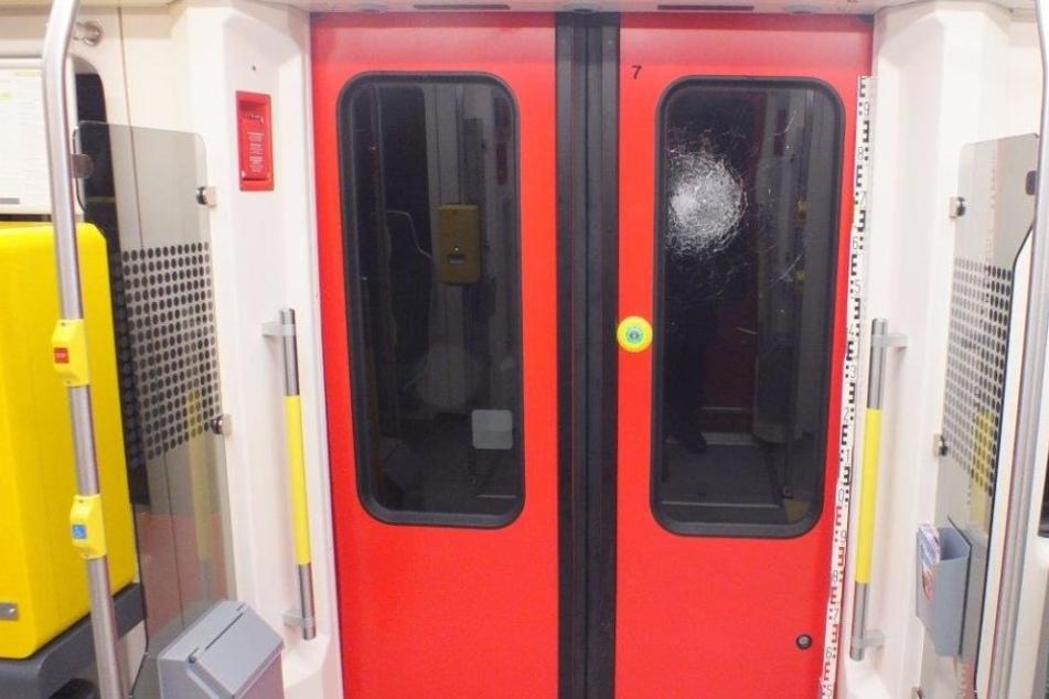 Die Scheibe in der Zugtür wurde durch den Steinwurf schwer beschädigt.