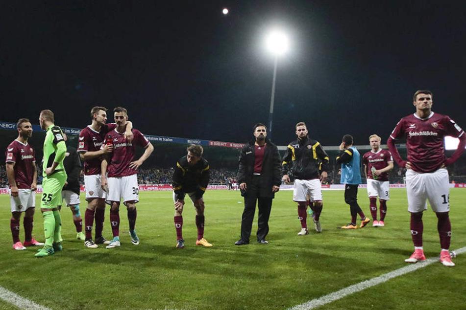 Die Dynamos waren nach der  Last-Minute-Niederlage in Braunschweig natürlich bedient.