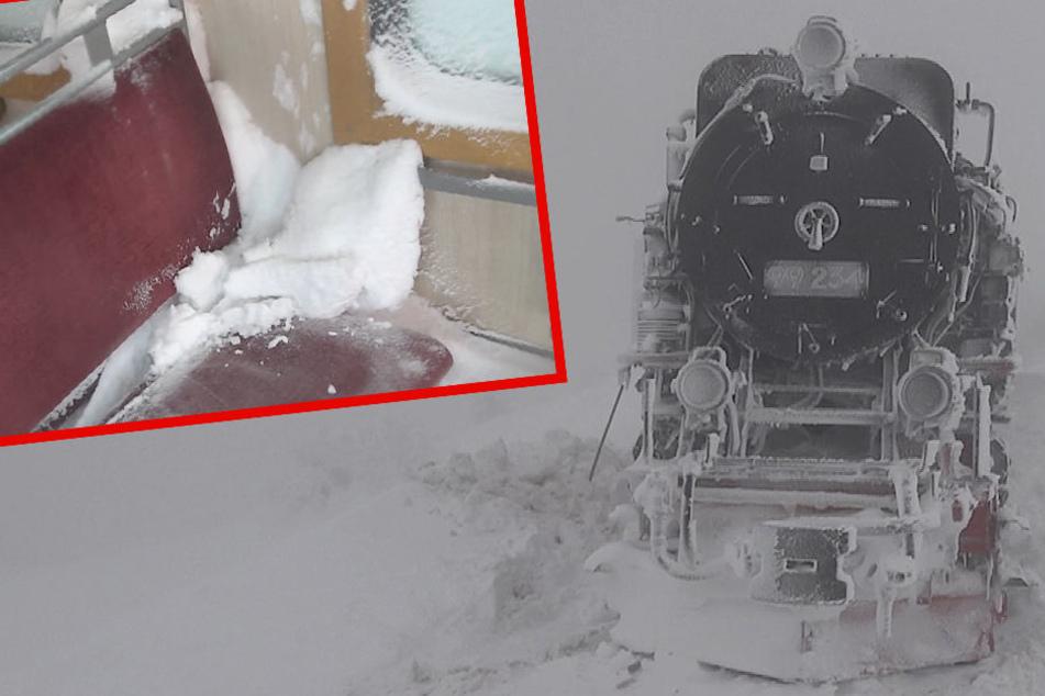 Lok steckt weiter in Schneewehe: Zugverkehr zum Brocken eingestellt
