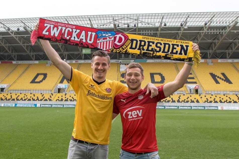Dynamos Torjäger Stefan Kutschke  (l.) und Zwickaus Ex-Dynamo Robert Koch rührten schon  kräftig die Werbetrommel.