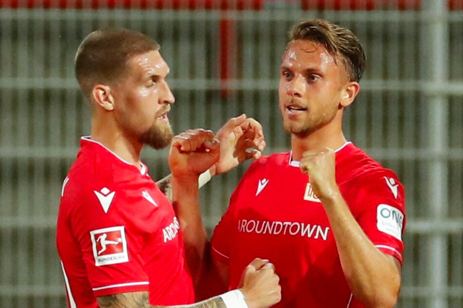 Unions Marcus Ingvartsen (r.) bejubelt mit Robert Andrich seinen Treffer zum 1:1.