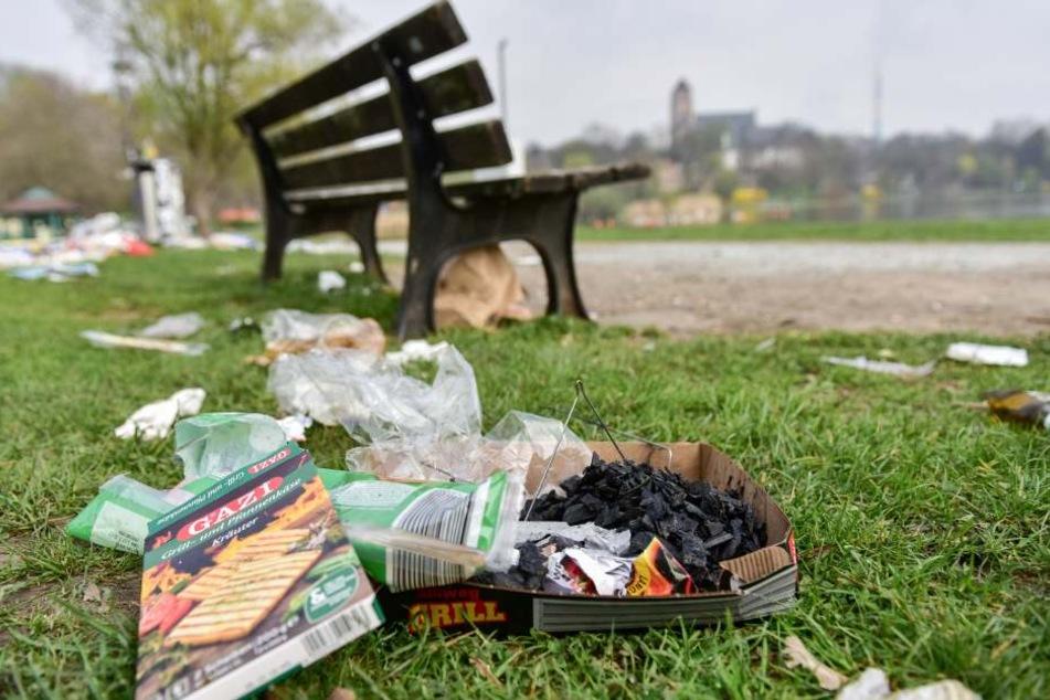 Besonders im Sommer gibt es immer wieder Müllprobleme am Schloßteich.