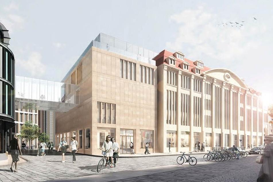 So soll das Jugendstil-Kaufhaus in Görlitz einmal aussehen. Geplant ist auch ein Anbau sowie ein Übergang zum CityCenter Frauentor.