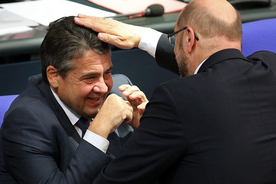 Hier herrschte zwischen Gabriel und Schulz noch gute Stimmung.