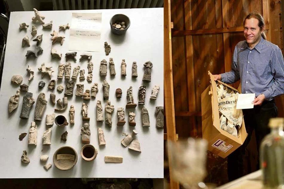 Der Schatz umfasst 68 Terrakotten, also Fundstücke aus Ton. Gefunden wurde er in einer schlichten Kiste (re).