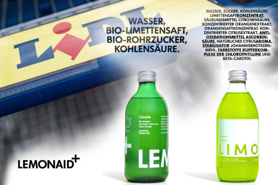 Die Gegenüberstellung des Limonaden-Herstellers: Links das Produkt von Lemonaid, rechts das von Lidl.