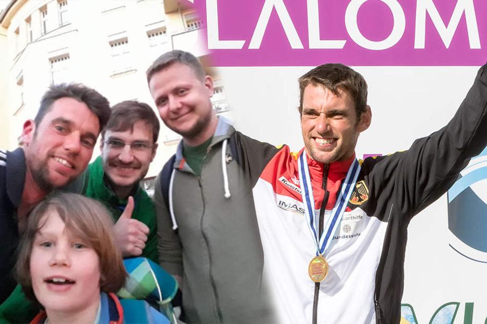 Die Jungs von der BSG Chemie haben Mika wohlbehalten nach Hause gebracht. Für Kanu-Weltmeister Jan Benzien (r., 35) Grund zum Jubeln!