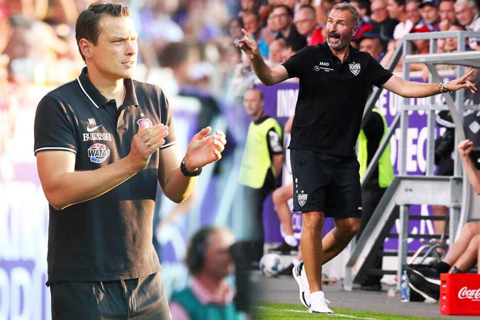 Von Aues Interimstrainer Marc Hensel (l.) gab's Beifall. VfB-Coach Tim Walter schimpfte wie ein Rohrspatz - während des Spiels und nachher noch mehr... (Bildmontage)