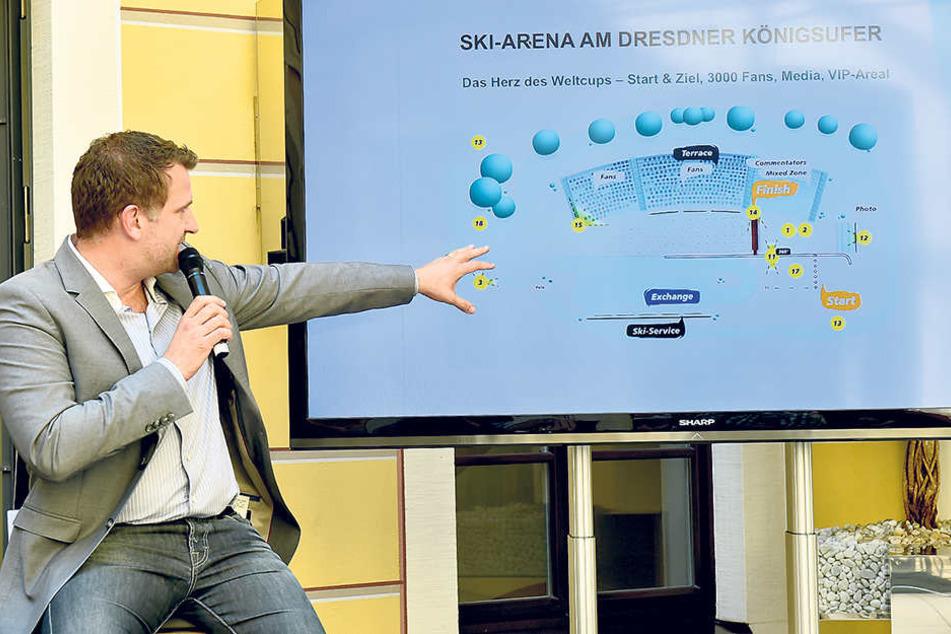 René Kindermann (42) erklärte das Konzept des ersten Dresdner  Ski-Weltcups.