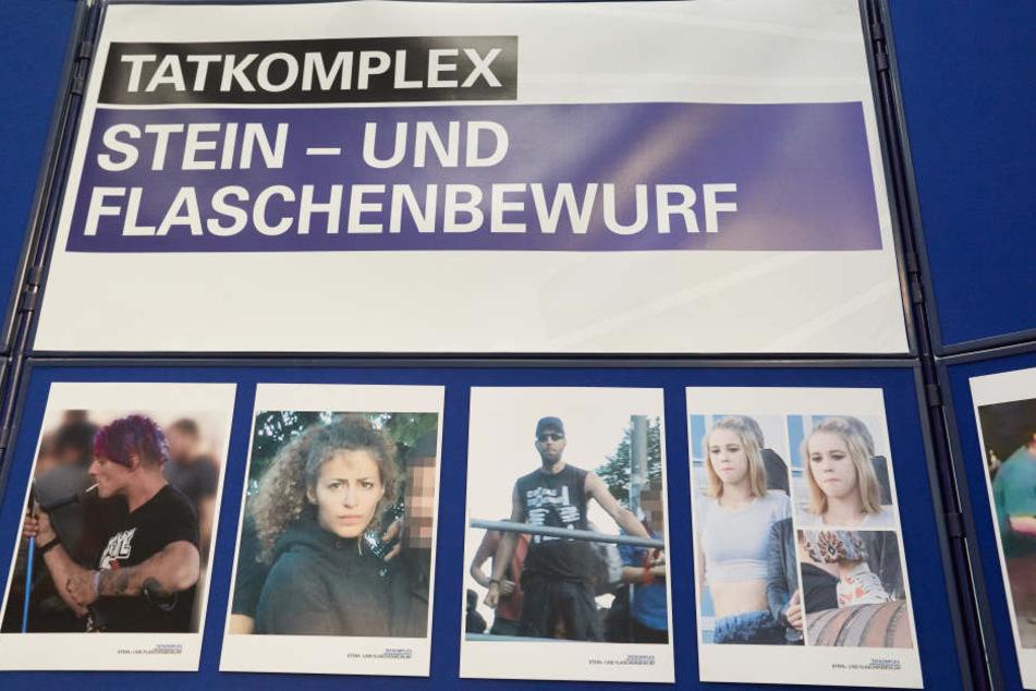 """Fahndungsbilder der Polizei aus dem """"Tatkomplex Stein-und Flaschenbewurf"""". Insgesamt wurden über 100 Fotos veröffentlicht."""