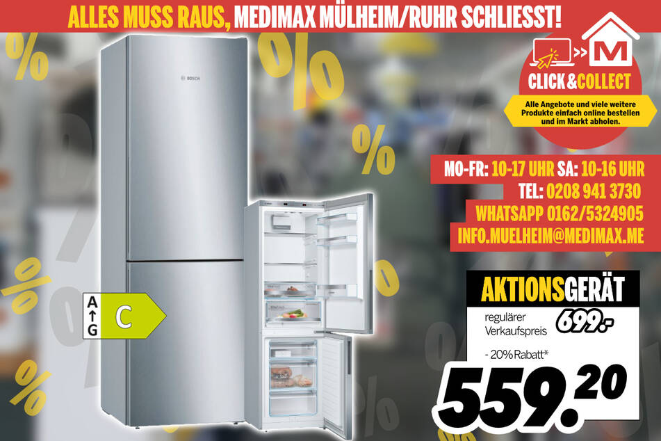 Kühl- und Gefrierkombi von Bosch für 559,20 Euro