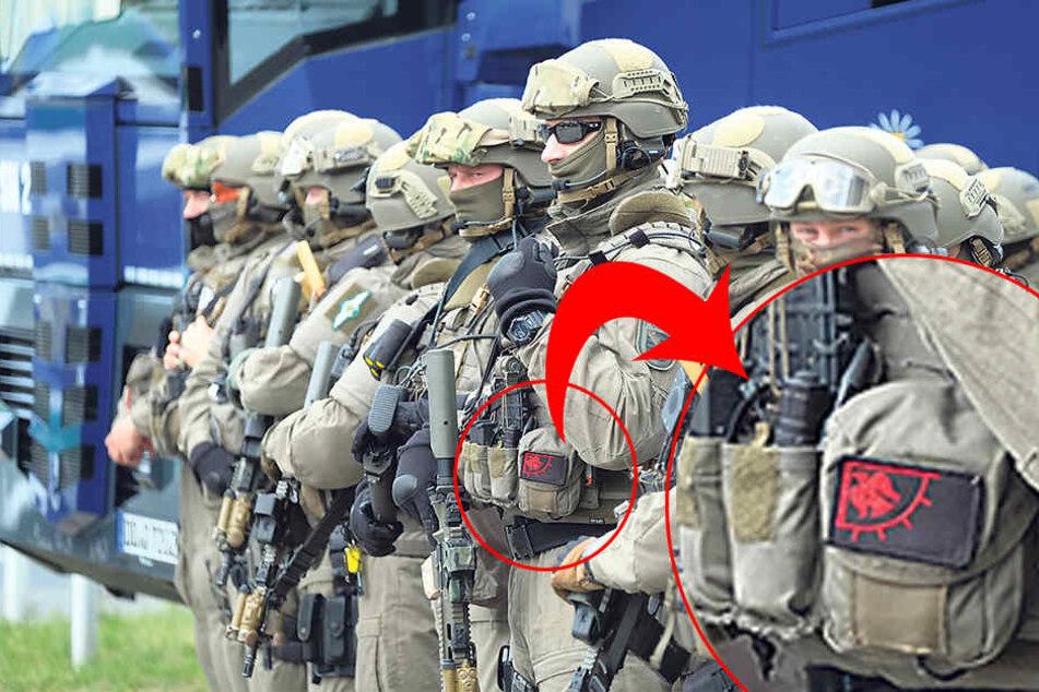 Mit dem Rabenbanner an der Uniform erschien ein SEK-Beamter zum Einsatz.