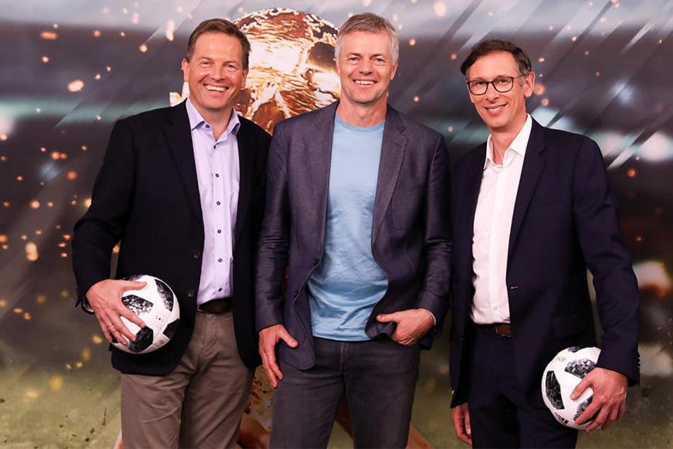 Genau wie Gerd Gottlob, Tom Bartels (v.l.n.r.) gehört auch Steffen Simon zum ARD-Kommentatoren-Team bei der WM in Russland.