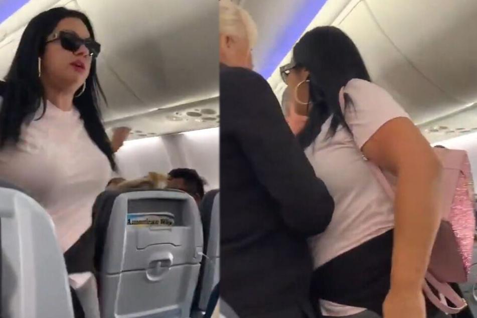 Wutschnaubend schnappte sich die Frau danach ihre Sachen und wurde aus dem Flugzeug geworfen.