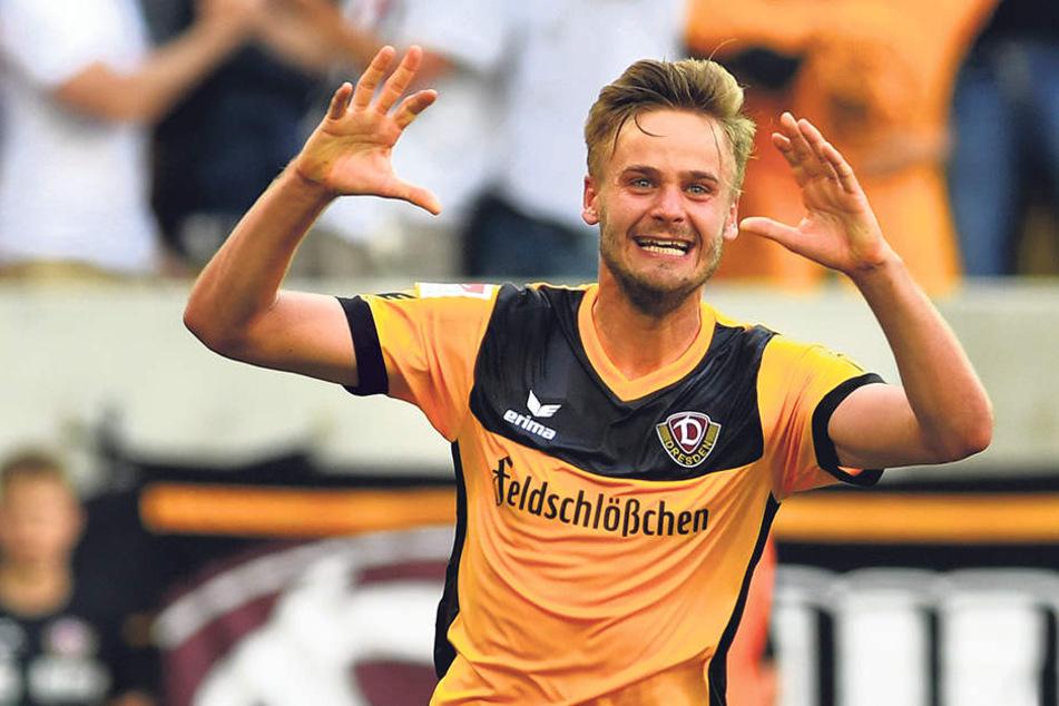 Immer wieder Grund zum Jubel hatte Lucas Röser. Schon fünf Treffer hat der Ex-Großaspacher in dieser Saison erzielt und ist damit Dynamos bester Torschütze.