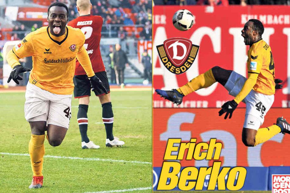 Zunge raus! So bejubelte Erich Berko in Nürnberg seinen ersten Treffer für Dynamo.
